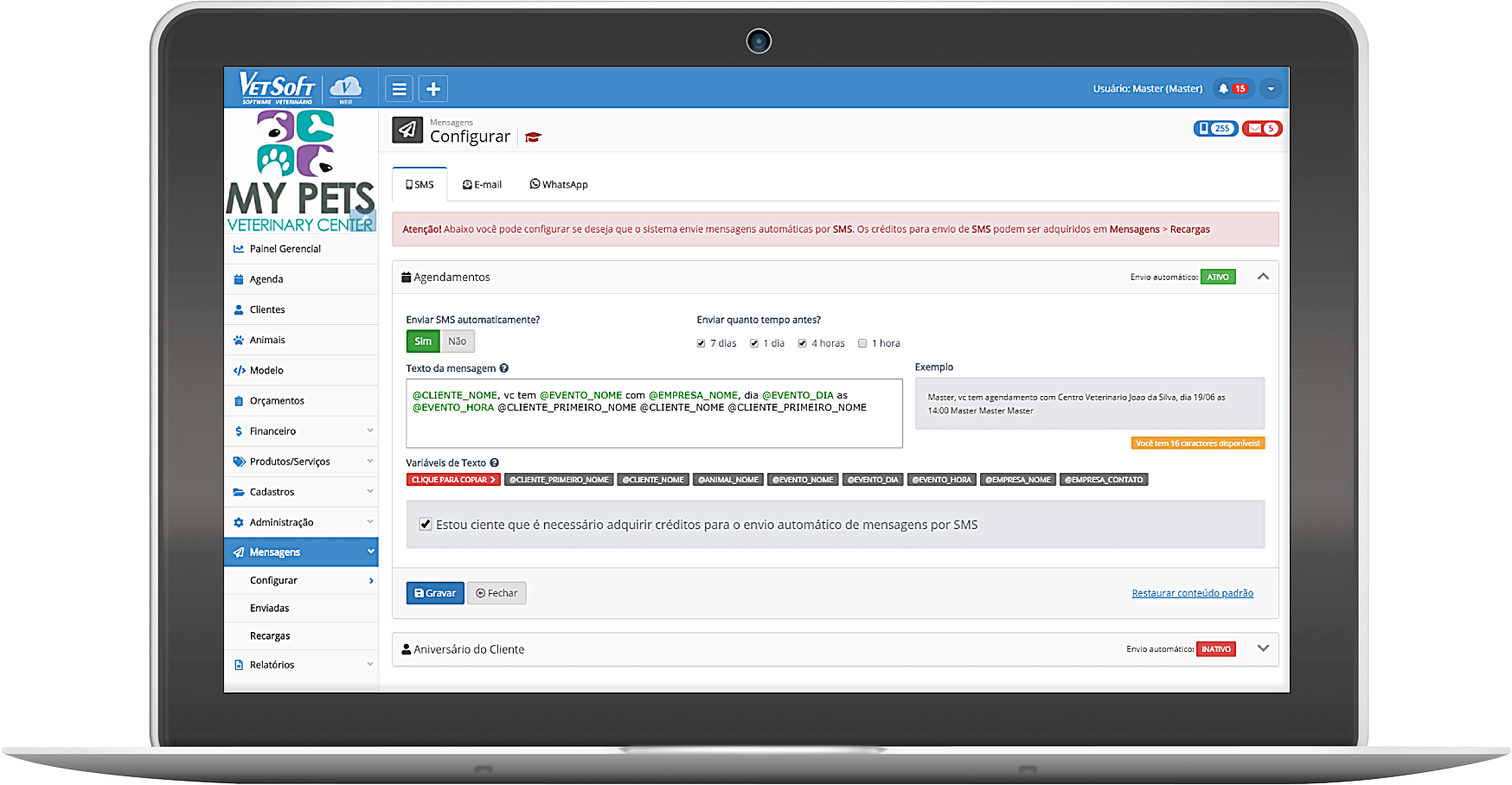 SMS/Email - VetSoft Web